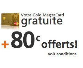 ING Direct: Carte Gold MasterCard gratuite + 80€ offerts