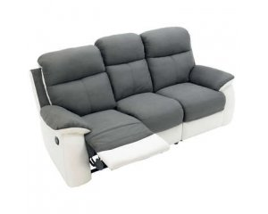 Canap 3 places gris et blanc avec position de relaxation 480 40 au lieu d - Canape gris blanc conforama ...