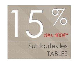 4 Pieds: 15 % de réduction dès 400 € d'achat sur toute les tables