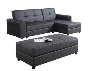 Canapé d\'angle modulable KYUDO simili cuir noir à 397,40€ au lieu de ...