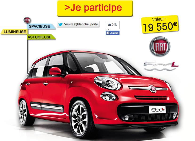une voiture fiat 500l gagner blancheporte. Black Bedroom Furniture Sets. Home Design Ideas