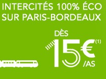 Code promo Voyages SNCF : Trains INTERCITES Paris-Bordeaux dès 15 € l'aller simple