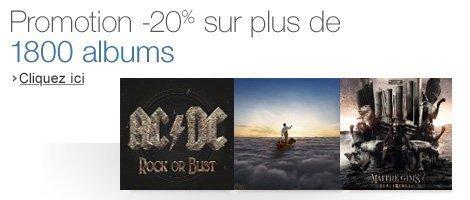 Code promo Amazon : 20% de remise sur une sélection de 1 800 CD
