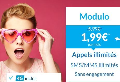 Code promo Prixtel : Le forfait mobile Modulo à 1,99€ par mois au lieu de 5,99€ pendant 3 mois