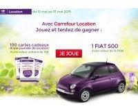 Carrefour: Jouez et tentez de gagner 1 Fiat 500 + des cartes cadeaux