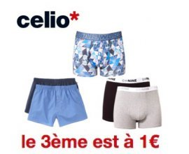 Celio*: 2 caleçons ou boxers achetés = le 3ème pour 1€