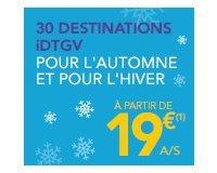IDTGV: Partez en automne ou hiver à partir de 19€ l'aller simple