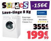 Cdiscount: Lave-linge 8kg INDESIT IWC81252C à 199,99€ au lieu de 361,99€
