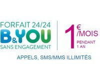 Bouygues Telecom: [Clients Bouygues] Forfait B&You à 1€/mois pendant 1 an
