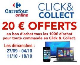 Carrefour: 20€ offerts tous les 100€ d'achat pour toute commande en Click & Collect