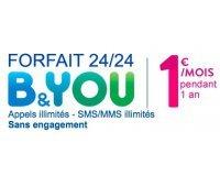 B&You: [Clients Bouygues] Forfait 24/24, appels illimités, SMS/MMS illimités à 1€ /mois