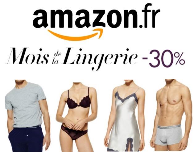 Code promo Amazon : Mois de la Lingerie : - 30% dès 40€ d'achat sur une sélection d'articles