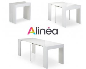 table console extensible de 37cm 197cm 12 personnes blanche 279 alin a. Black Bedroom Furniture Sets. Home Design Ideas