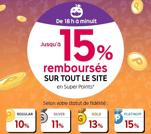 Code promo Rakuten : De 18h à minuit : de 10 à 15% de vos achats remboursés sur tout le site