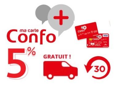 Code promo Conforama : Carte de fidélité Confo+ : récupérez 5% du montant de vos achats en bons d'achat
