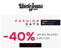 Uncle Jeans: Fashion Days : -40% sur des milliers d'articles