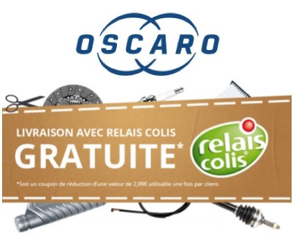 Code promo Oscaro : Livraison gratuite en relais colis sans minimum d'achat