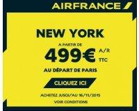 Air France: Vols Aller Retour Paris - New York à 499€