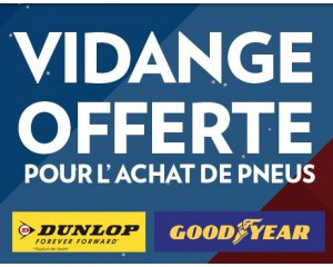 vidange offerte pour l achat et la pose d 39 au moins 2 pneus dunlop ou goodyear speedy. Black Bedroom Furniture Sets. Home Design Ideas