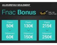 Fnac: [Adhérents] 60€ de bon d'achat pour 50€, 150€ pour 130€ et 250€ pour 215€