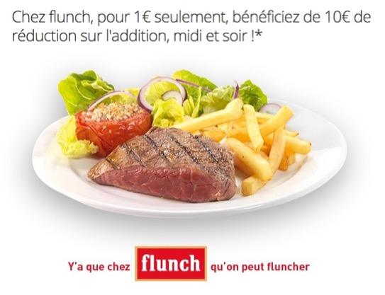 Code promo Groupon : Flunch : 10€ de réduction sur l'addition pour 1€, valable 7 jours/7, midi & soir dès 20€