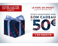 Speedy: Un bon d'achat de 50€ offert dès 100€ d'achat (limité aux 1000 premiers clients)