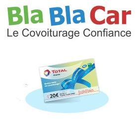 Code promo Total : 15€ de carburant ou 30€ de lavage pour votre 1er covoiturage avec Blablacar