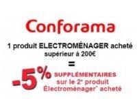 Conforama: 1 produit électroménager acheté = - 5% sur le 2ème produit électroménager