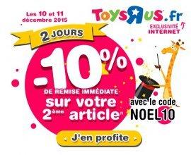 ToysRUs: 10% de remise sur le 2ème article acheté