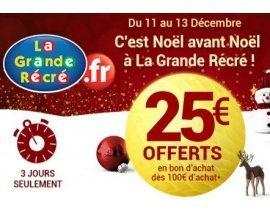La Grande Récré: 25€ offerts en bon d'achat dès 100€ d'achat
