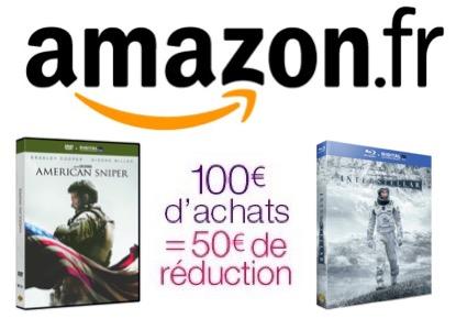 Code promo Amazon : 50€ de remise dès 100€ d'achat sur une sélection DVD, Blu-ray & Séries TV