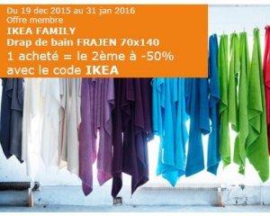 IKEA: Drap de bain FRAJEN 70x140 : 1 acheté = le 2ème à - 50%