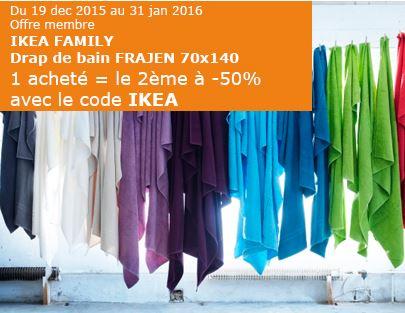 Code promo IKEA : Drap de bain FRAJEN 70x140 : 1 acheté = le 2ème à - 50%