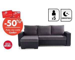 Adh rents carte confo canap d 39 angle convertible 5 places astra 398 - Vente privee conforama ...