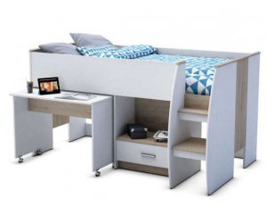 lit enfant sur lev enzo 2 90x190cm avec bureau int gr. Black Bedroom Furniture Sets. Home Design Ideas