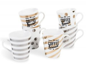 coffret 6 tasses caf en porcelaine coffee house 10 95. Black Bedroom Furniture Sets. Home Design Ideas