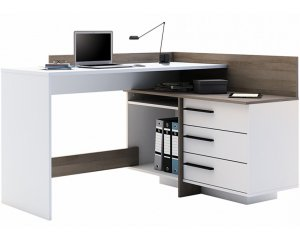 bureau d 39 angle avec espaces de rangement 129 99 home24. Black Bedroom Furniture Sets. Home Design Ideas