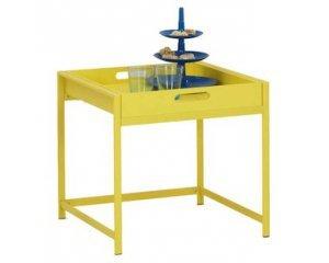 Table d appoint avec plateau coloris jaune 17 58 conforama - Table d appoint conforama ...