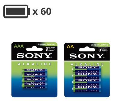 Code promo Darty : Pack de 60 Piles Sony : 32 AA - LR06 & 28 AAA - LR03 pour 20€ au lieu de 60€