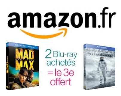 Code promo Amazon : 2 Blu-ray achetés = le 3e offert parmi plus de 2500 titres différents