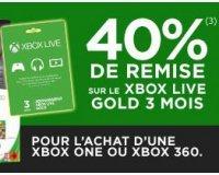Micromania: 40 % de remise sur le Xbox Live Gold 3 mois pour l'achat d'une Xbox One ou 360