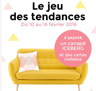 1 canap iceberg et 500 de cartes cadeaux gagner maisons du monde. Black Bedroom Furniture Sets. Home Design Ideas