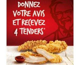 KFC: 4 tenders offerts en donnant votre avis sur votre restaurant