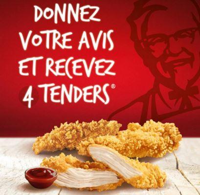 Code promo KFC : 4 tenders offerts en donnant votre avis sur votre restaurant