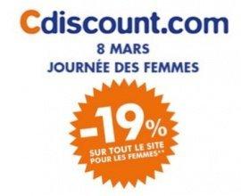 Cdiscount: [De 10h à 20h] 19% offerts en bon d'achat sur tout le site pour les femmes