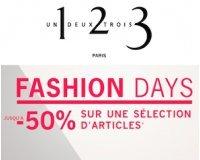 1.2.3: Fashion Days : jusqu'à -50% sur une sélection d'articles