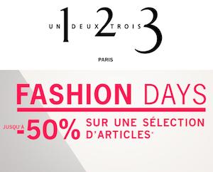 Code promo 1.2.3 : [Fashion Days] Jusqu'à -50% sur une sélection d'articles + -10% suppl.