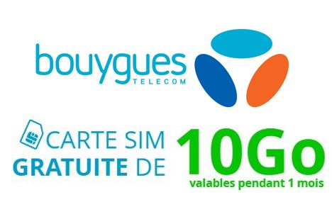Code promo Bouygues Telecom : 1 carte SIM et 10 Go de données offerts pour tester l'efficacité du réseau 4G