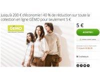 Groupon: Payez 5€ le code offrant 40% de réduction sur le site GÉMO