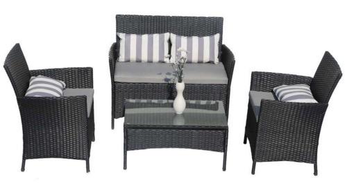 Salon de jardin Atlanta Détente (canapé + 2 fauteuils + 1 table ...